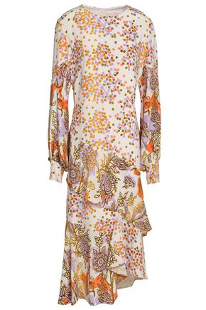 PETER PILOTTO Asymmetric ruffled printed silk midi dress