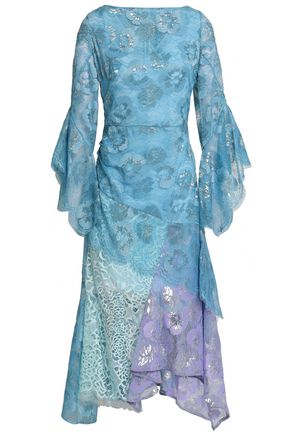 ANCIENT GREEK SANDALS x PETER PILOTTO Color-block metallic lace dress
