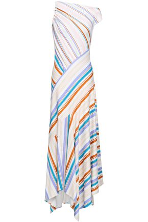 PETER PILOTTO Off-the-shoulder striped ponte maxi dress