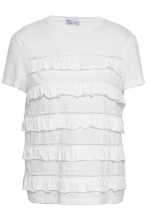 REDValentino Ruffled cotton-jersey top