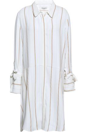 HALSTON HERITAGE Striped crepe shirtdress