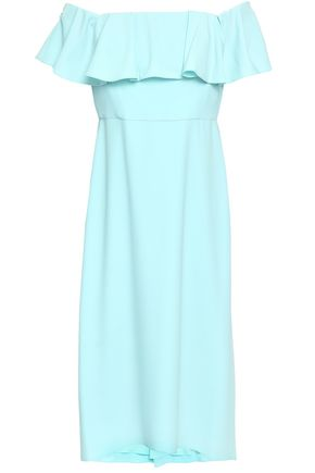 HALSTON HERITAGE Off-the-shoulder stretch-crepe midi dress