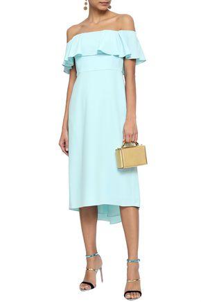 HALSTON HERITAGE Ruffled off-the-shoulder stretch-crepe midi dress
