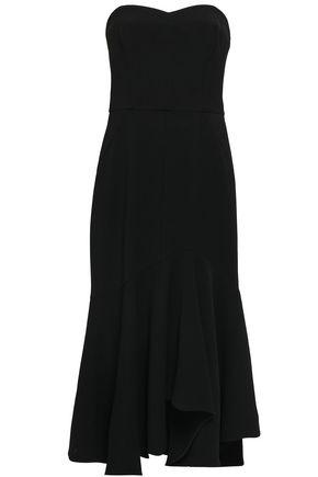 HALSTON HERITAGE Strapless crepe midi dress