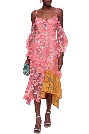 36acce9d64 PETER PILOTTO Cold-shoulder paneled metallic lace midi dress
