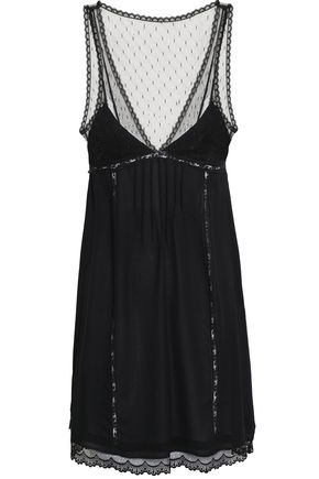 REDValentino Lace-trimmed point d'esprit mini slip dress