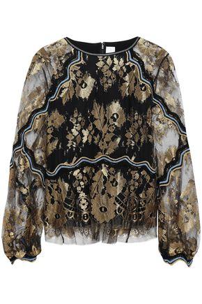 ANCIENT GREEK SANDALS x PETER PILOTTO Crochet-trimmed metallic lace blouse