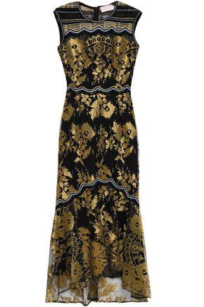 ANCIENT GREEK SANDALS x PETER PILOTTO Metallic crochet-paneled lace gown
