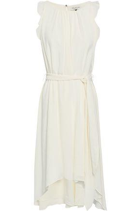 HALSTON HERITAGE Ruffle-trimmed crepe dress