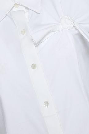 HELMUT LANG Knotted cotton-blend poplin top