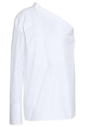HELMUT LANG One-shoulder cotton-poplin top