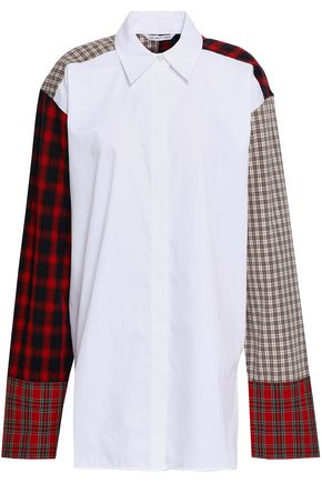 HELMUT LANG Checked-paneled cotton shirt
