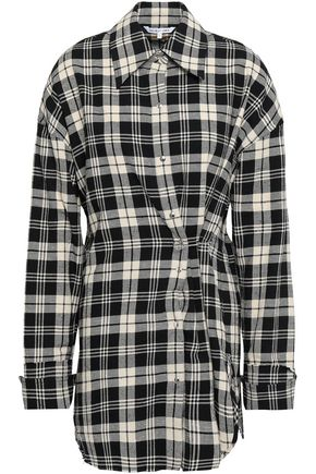 HELMUT LANG Appliquéd checked cotton-flannel shirt