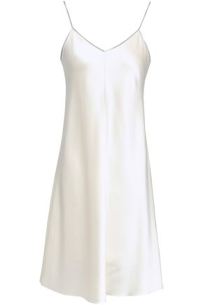 HELMUT LANG Zip-embellished silk-satin slip dress