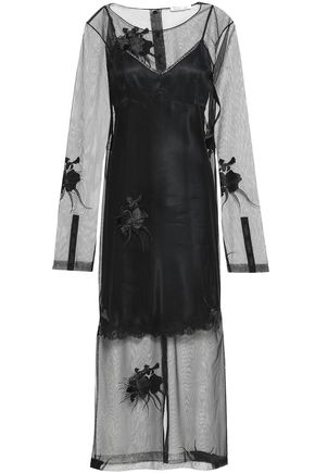 HELMUT LANG Embroidered tulle maxi dress