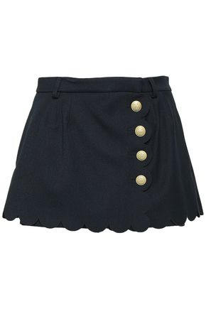REDValentino Button-detailed scalloped twill culotte skirt