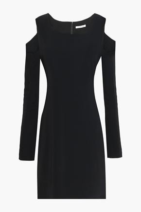 HELMUT LANG Cold-shoulder stretch-ponte mini dress