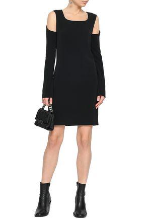 HELMUT LANG Cold-shoulder stretch-ponte mini dress
