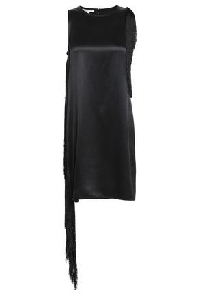 HELMUT LANG Fringe-trimmed silk-satin mini dress