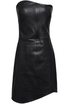 HELMUT LANG Strapless leather mini dress