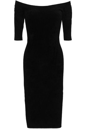 HELMUT LANG Off-the-shoulder ribbed-knit chenille dress