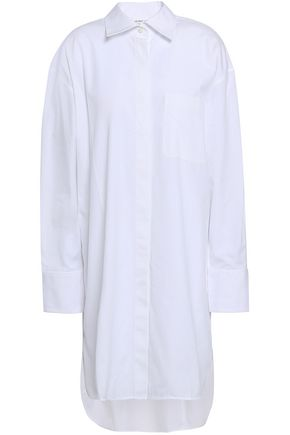 HELMUT LANG Asymmetric cotton-poplin mini shirt dress