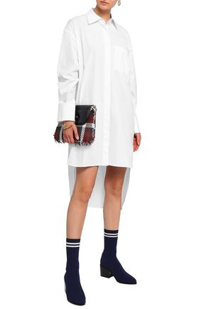 HELMUT LANG Asymmetric cotton-poplin mini shirt dress