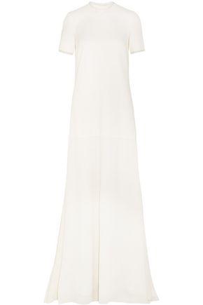 ROKSANDA Garnet organza-trimmed wool-crepe gown