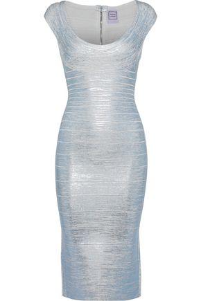 HERVÉ LÉGER Metallic coated bandage dress