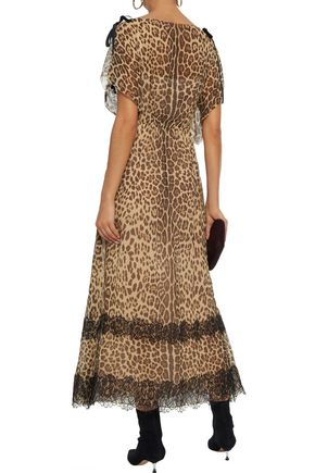 REDValentino Lace-trimmed leopard-print silk-georgette midi dress