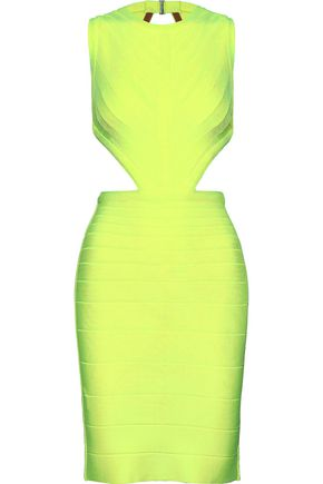 HERVÉ LÉGER Cutout neon bandage mini dress