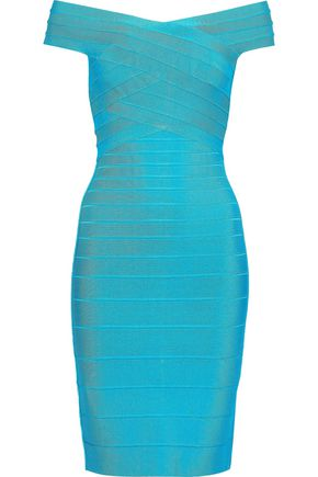 HERVÉ LÉGER Off-the-shoulder bandage dress