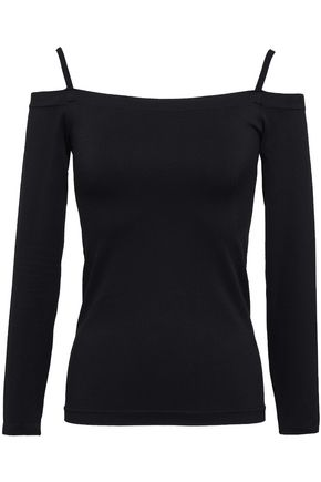 HELMUT LANG Cold-shoulder stretch-jersey top