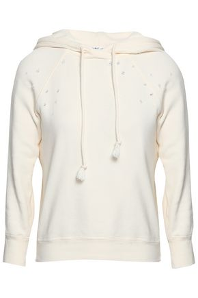 HELMUT LANG Distressed French cotton-terry hooded sweatshirt