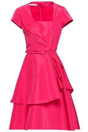 OSCAR DE LA RENTA Belted silk-faille dress