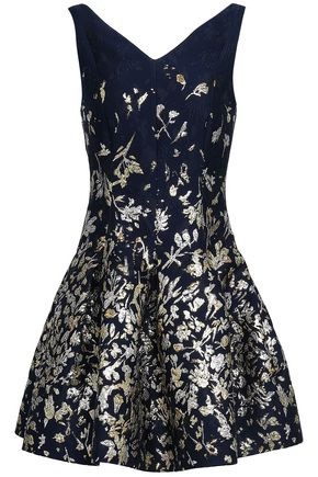 OSCAR DE LA RENTA Cutout metallic jacquard mini dress