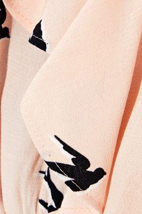 McQ Alexander McQueen Cold-shoulder ruffled printed crepe de chine dress