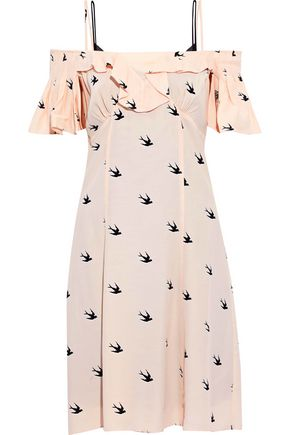 McQ Alexander McQueen Cold-shoulder ruffled printed crepe de chine dress