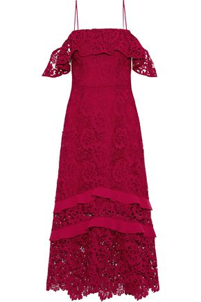 RACHEL ZOE Poppy cold-shoulder ruffled guipure lace midi dress