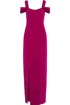 HALSTON HERITAGE Cold-shoulder satin-trimmed crepe gown