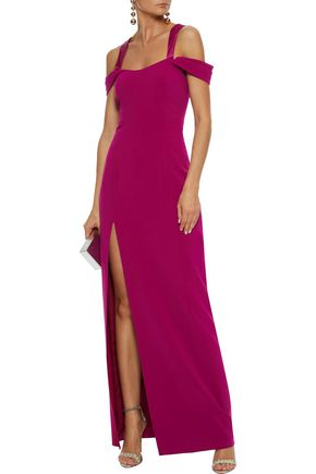 cbcf5afc3664 HALSTON HERITAGE Cutout split-front stretch-crepe maxi dress
