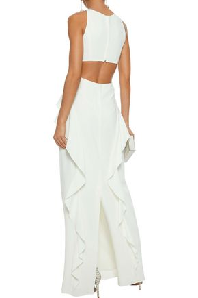 HALSTON HERITAGE Cutout ruffle-trimmed crepe gown