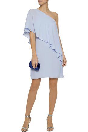 HALSTON HERITAGE One-shoulder layered crepe de chine mini dress