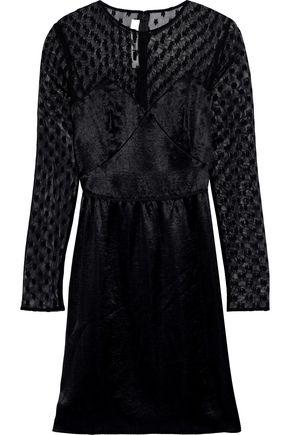 McQ Alexander McQueen Embroidered mesh-paneled satin mini dress