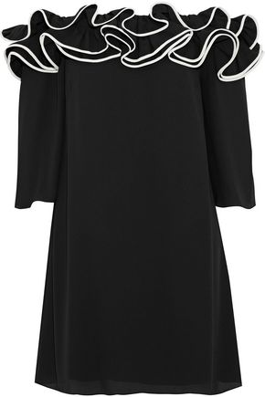 HALSTON HERITAGE Off-the-shoulder ruffled crepe mini dress