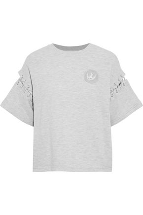 McQ Alexander McQueen Lace-up appliquéd French cotton-blend terry T-shirt