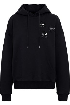 McQ Alexander McQueen Embellished French cotton-terry hoodie