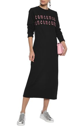 McQ Alexander McQueen Embroidered French cotton-terry midi dress