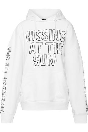McQ Alexander McQueen Embroidered French cotton-terry hoodie