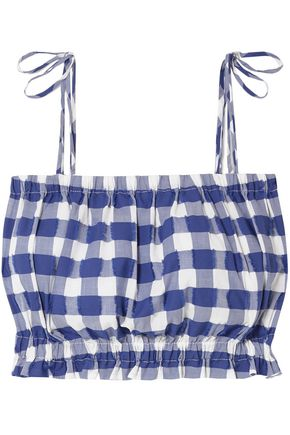 MDS STRIPES Cropped gingham fil coupé cotton top